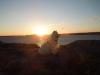 Lottas hund Galax med solnedg+Ñng